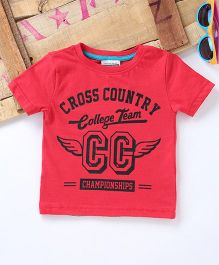 Tonyboy Cross Country College Team Printed T-Shirt - Red