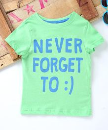 Tonyboy Never Forget To Smile Print T-Shirt - Light Green