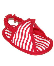 Striped Triangle Design Slipons - Red & White