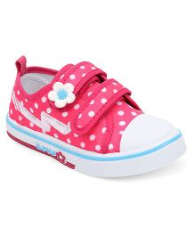 Cute Walk by Babyhug Dotted Canvas Shoes Floral Motif - Pink White