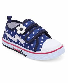 Cute Walk by Babyhug Dotted Canvas Shoes Floral Motif - Dark Blue White