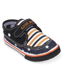 Cute Walk By Babyhug Casual Shoes With Star & Stripe Design - Black Navy