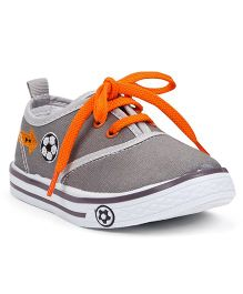 Cute Walk By Babyhug Casual Shoes With Football Embroidery - Grey