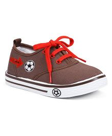 Cute Walk By Babyhug Casual Shoes With Football Embroidery - Coffee Brown