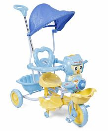 Musical Tricycle With Canopy And Push Handle - Blue Yellow