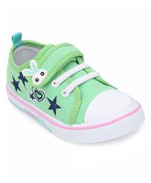 Cute Walk By Babyhug Casual Shoes With Star & Heart Embroidery - Green