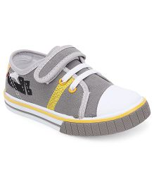 Cute Walk By Babyhug Casual Shoes With Velcro Closure - Grey Yellow