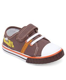 Cute Walk By Babyhug Casual Shoes With Velcro Closure - Coffee Orange