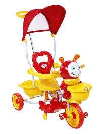 Tricycle With Canopy Music And Push Handle - Red & Yellow