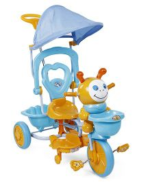 Tricycle With Canopy Music And Push Handle -  Aqua Yellow