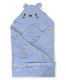 Baby Hooded Wrapper Teddy Bear Face - Blue