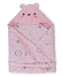 Baby Hooded Wrapper Teddy Bear Face - Pink