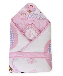 Baby Hooded Wrapper Elephant Print - Pink White