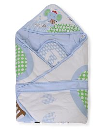 Cotton Hooded Baby Wrapper Elephant Print - Blue White