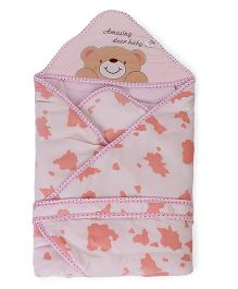 Baby Hooded Wrapper Teddy Bear Embroidery - Light Pink