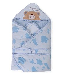 Baby Hooded Wrapper Teddy Bear Embroidery - Light Blue