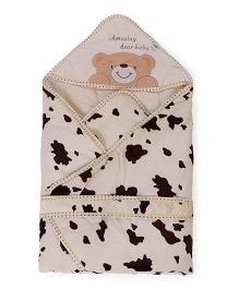 Baby Hooded Wrapper Teddy Bear Embroidery - Cream