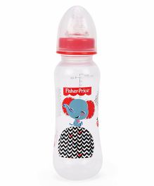 Fisher Price Regular Neck Feeding Bottle Elephant Print White Red - 250 ml
