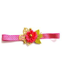 Reyas Accessories Fabric Flower Headband - Golden & Pink