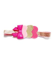 Reyas Accessories Heart Design Headband - Golden & Pink