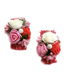 Reyas Accessories Set Of Rose Hair Clips - Red Pink & White