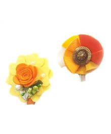 Reyas Accessories Vintage Style Set Of 2 Hair Clips - Orange & Yellow