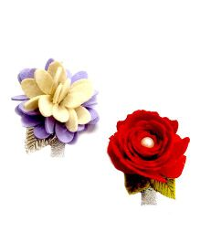 Reyas Accessories Set Of Rose Felt Flower Hair Clip - Red & Purple