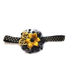 Reyas Accessories Flower Applique Textured Headband - Black & Golden