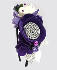 Reyas Accessories Flower Design Felt Hairband - Purple & Silver