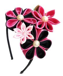 Reyas Accessories Kanzashi Crown Hairband - Pink & Black