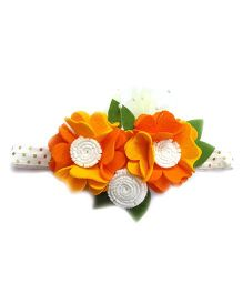 Reyas Accessories Floral Crown Headband - Yellow & Orange