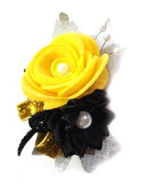 Reyas Accessories Glittery Floral Hair Clip - Yellow & Black
