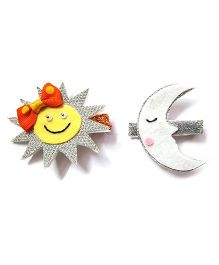 Reyas Accessories Set Of Sun And Moon Glittery Hair Clip - Multicolor
