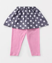 Babyhug Full Length Skeggings Polka Dots Print - Grey Pink