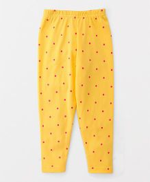 Babyhug Full Length Leggings Polka Dots Print - Yellow