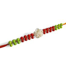 Sugarcart Beaded Rakhi With Pearl Finish Flower - Red & Green
