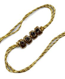 Sugarcart Rakhi With Diamond Rectangle Studs - Golden