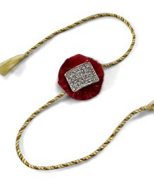 Sugarcart Traditional Resham Rakhi Studded With Diamonds - Maroon