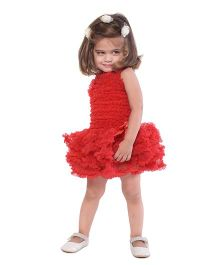 The Kidshop Cute Ruffles Party Dress - Red