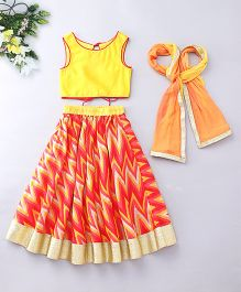 Kids Chakra Zig Zag Print Ghagra Choli - Yellow & Red