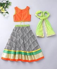 Kids Chakra Square Print Ghagra Choli - Orange White & Black
