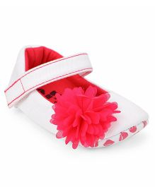 Ivee Soft Sole Booties With Attached Flower - Fuschia