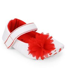Ivee Soft Sole Shoes With Attached Flower - Red