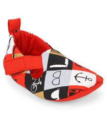 Ivee Anchor Print Anti Skid Soft Sole Shoes - Red