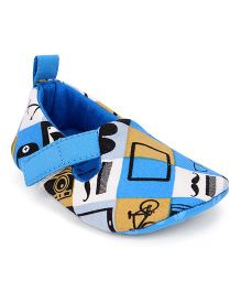 Ivee Anchor Print Anti Skid Soft Sole Shoes - Blue