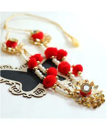 D'Chica Gota And Pearlworl Ethnic Necklace - Red & Golden