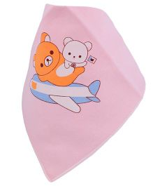 Little Palz Teddy In Plane Printed Bib - Pink