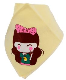 Little Palz Cute Girl Printed Bib - Yellow