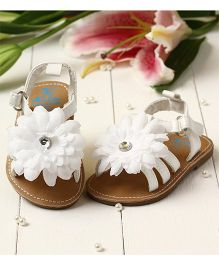 LCL By Walkinlifestyle Sandal Flower Applique - White Beige