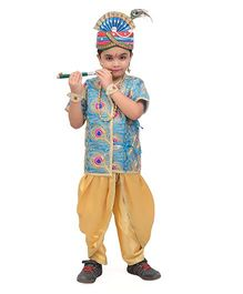 Fancydresswale Little Krishna Fancy Dress - Blue Golden